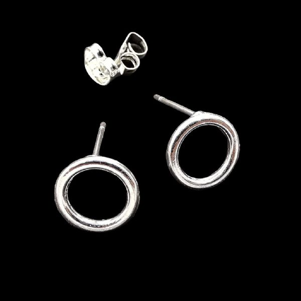 Silver Plated Stud Hoop Earrings 10mm x 8pcs